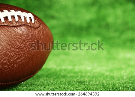 American football on field, close up