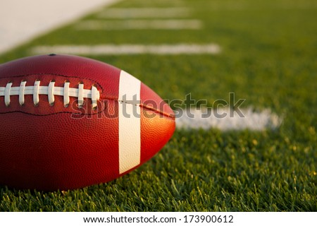 American Football on the Field near with room for copy - stock photo