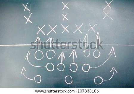 American football plan on blackboard - stock photo