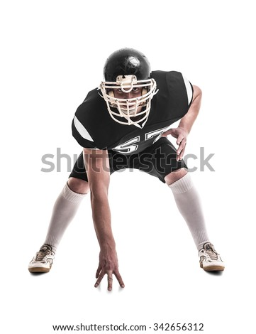 American football player isolated on white background - stock photo