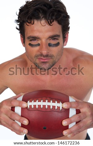 American Football Player with Sweat on White Background - stock photo