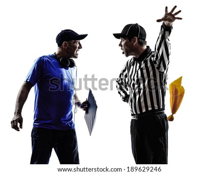 american football referee and coach conflict dispute conflict dispute in silhouettes on white background - stock photo