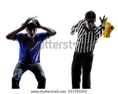 american football referee and coach conflict dispute in silhouette on white background - stock photo