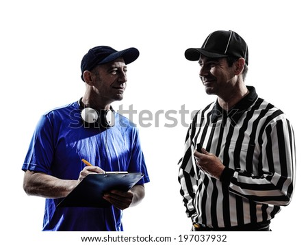american football referee and coach  in silhouette on white background - stock photo