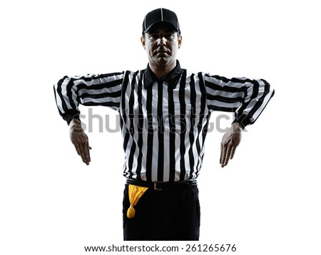 american football referee gestures illegal shift in silhouette on white background - stock photo