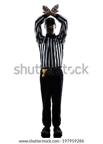 american football referee gestures time out in silhouette on white background - stock photo