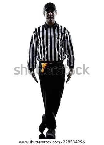 american football referee gestures tripping in silhouette on white background - stock photo