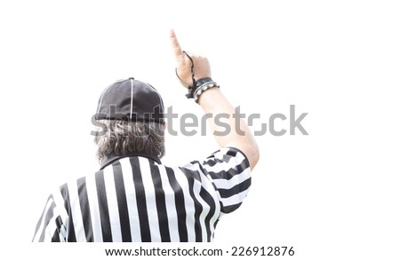 American football referee isolated on white. - stock photo