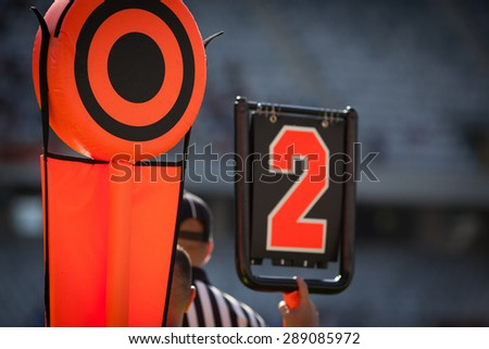 American football yard markers - sports concept - stock photo