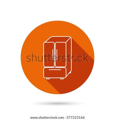 American fridge icon. Refrigerator sign. Round orange web button with shadow. - stock photo