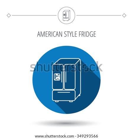 American fridge icon. Refrigerator with ice sign. Blue flat circle button. Linear icon with shadow.  - stock photo