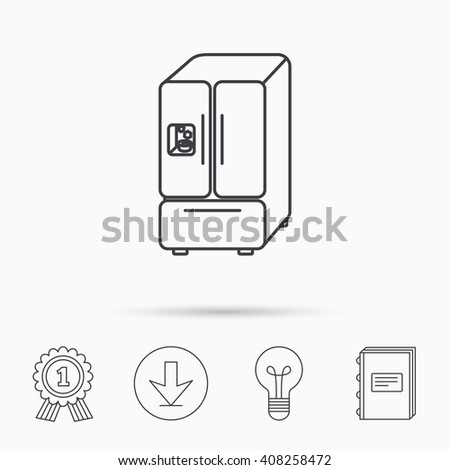 American fridge icon. Refrigerator with ice sign. Download arrow, lamp, learn book and award medal icons. - stock photo