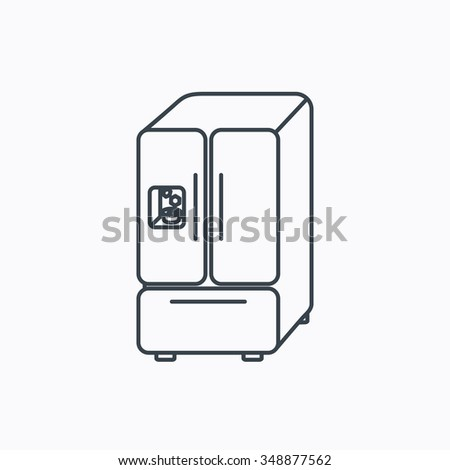 American fridge icon. Refrigerator with ice sign. Linear outline icon on white background.  - stock photo