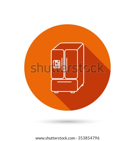 American fridge icon. Refrigerator with ice sign. Round orange web button with shadow. - stock photo
