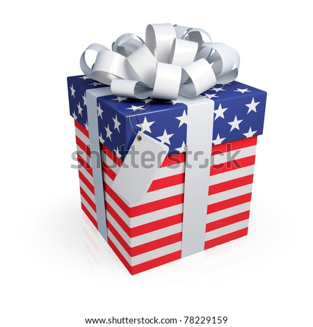 American gift box. 3d rendered. Isolated on white. - stock photo