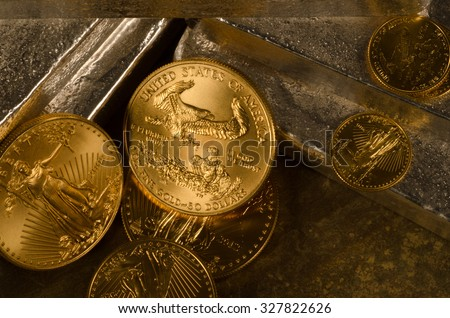 American Gold Eagle Coins with Silver Bars with a deep color.