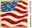 American grunge flag. Raster version, vector file available in portfolio. - stock photo