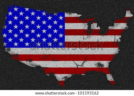 American grunge scratched flag with map on a black asphalt - stock photo