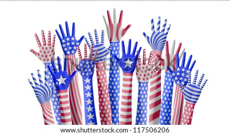 American hands raising for vote - stock photo