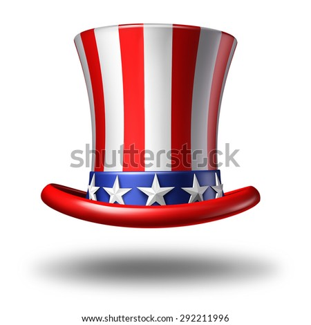 American hat icon as a stars and stripes symbol on a white background as a concept for patriotism in America and celebration of independence day and the fourth of july for the United States.