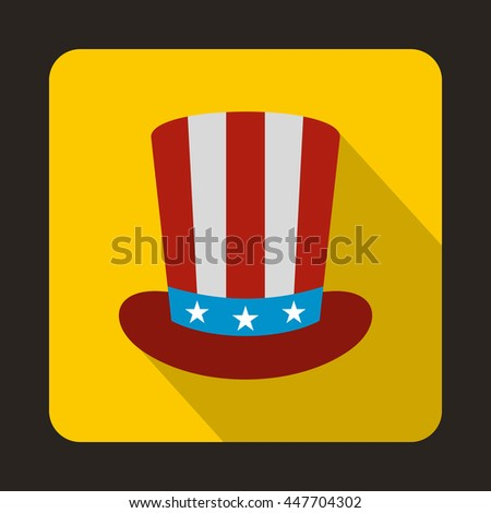 American hat icon in flat style with long shadow. Headdress symbol