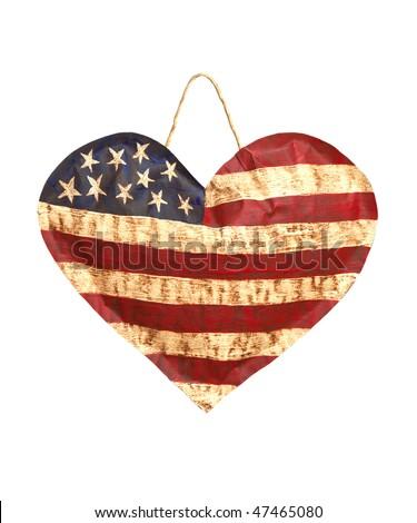 American Heart Flag - stock photo