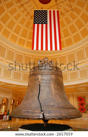 American heritage bell and flag - stock photo
