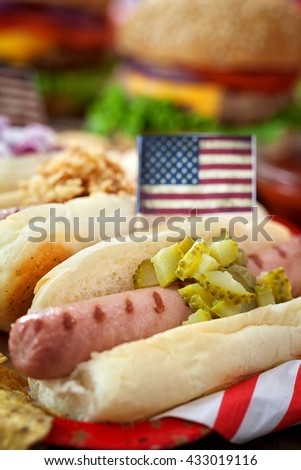 American holiday , 4th of July - Hot Dogs - stock photo