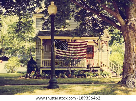 American Home with us flag for 4 of july  - stock photo