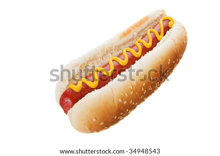American hot dog on a white background - stock photo