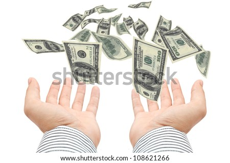 American hundred Dollar-bills flying towards the outstretched hands - stock photo