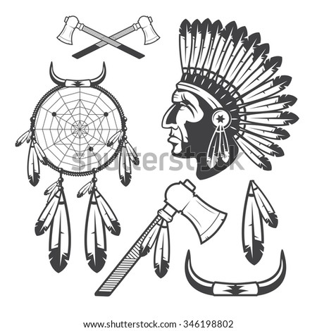American Indian Clipart Icons and Elements, isolated on white background - stock photo