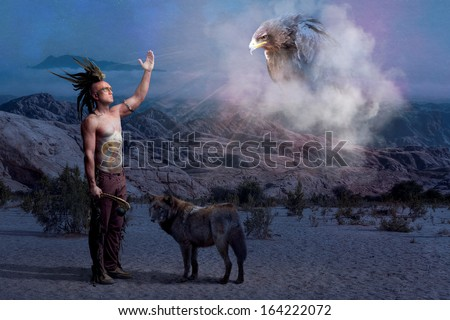 American Indian legend with warrior, wolf and eagle - stock photo