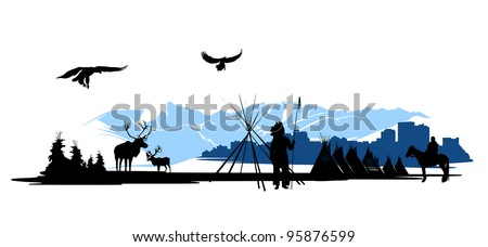 American Indian on the city buildings and snow mountains background