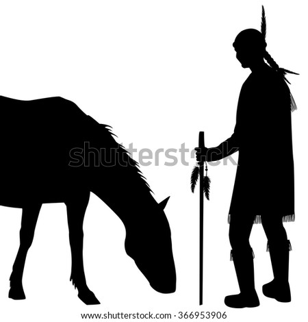 American Indian silhouette with horse on white background - stock photo