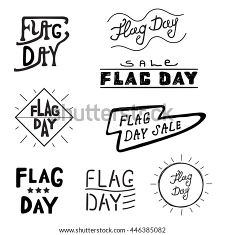 American logos and labels Flag day of the United States, 4th of July greeting card with hand drawn lettering typography isolated.