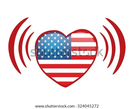 American love via internet - red heart with usa flag - stock photo