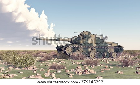 American main battle tank of the cold war Computer generated 3D illustration - stock photo