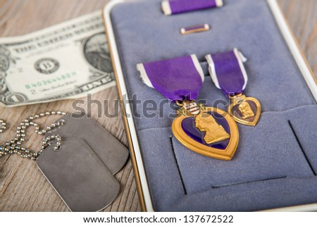 American medal:  Purple Heart Military medal in its box - stock photo