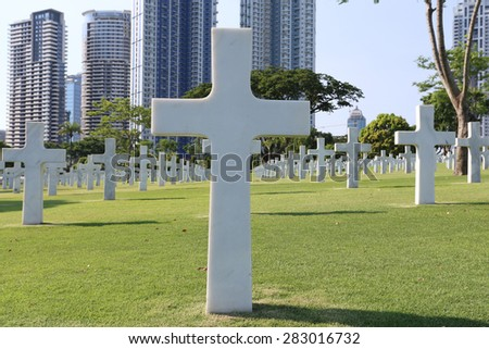 American Memorial Cemetery in Manila, Philippines.It has the largest number of graves of any cemetery for U.S. personnel killed during World War II and holds war dead from the Philippines. - stock photo