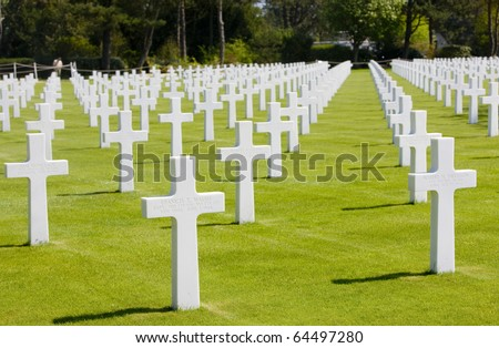 American Military Cemetery, Omaha Beach, Colleville-sur-Mer, Normandy, France - stock photo