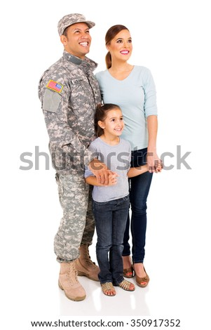 american military family looking up - stock photo