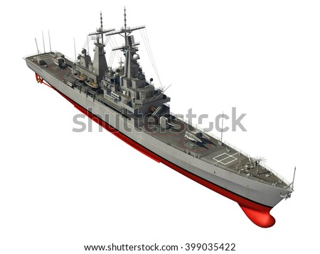 American Modern Warship Over White Background. 3D Illustration. - stock photo