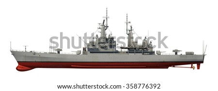 American Modern Warship Over White Background. 3D Model. - stock photo