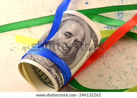 american money dollars and ribbon set - stock photo