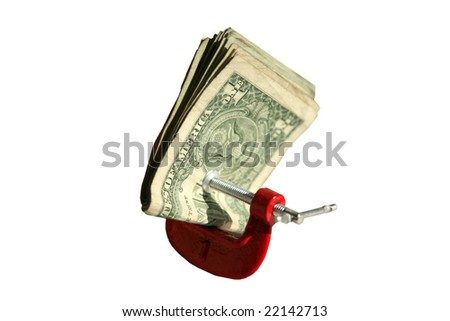 "American Money held tight with a ""C"" clamp isolated on white - stock photo"