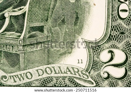 American money, Two dollar bill close-up. - stock photo