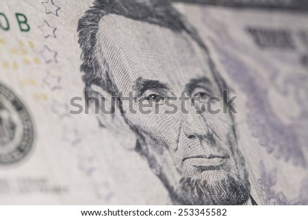 American new five dollar banknote macro - stock photo