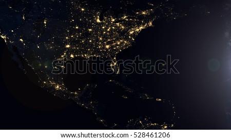 American Night Lights World Map Composition - Elements of this image furnished by NASA