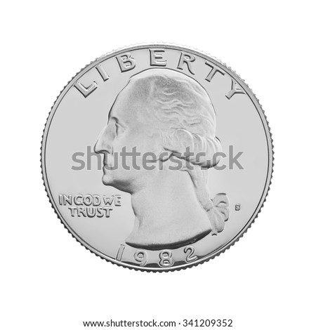 American one quarter coin isolated on white background